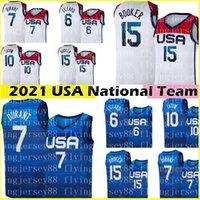 2021 Kevin 7 Durant Devin 15 Booker Jersey Damian 6 Lillard Jayson 10 Tatum Basketball Jerseys Equipo EE.UU. LOKYO OLYMPICS OLYMPICS BLANCO AZUL