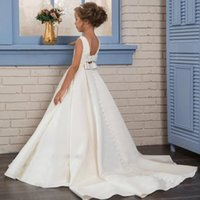 Girl's Dresses Fancy Pearls Flower Girl 2021 Vestidos Daminha A Line Kids Evening Pageant Gowns Beads First Communion For Girls