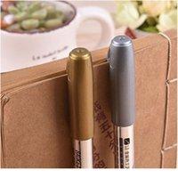 4 adet / takım Kalıcı Metalik Marker Altın Gümüş Vurgulayıcı Marker Kalemler için Kağıt Fotoğraf Albümü Kumaş Çelik Boya Sanatı Qylixs