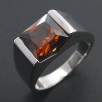 Cluster Rings 100% 925 Sterling Silver Men Ring Genuine Smoky Quartz Wedding Jewelry Engagement And Women Size 5 6 7 8 9 10 11