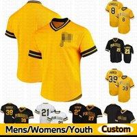 Homens Custom 8 Willie Stargell Jersey 21 Roberto Clemente 27 Kent Tekulve 39 Dave Parker Baseball Camisas