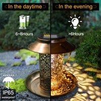 새로운 태양 에너지 조류 피더 방수 태양 빛 야생 매달려 청동 금속 트레이 태양 랜턴 야외 정원 나무 장식 빛