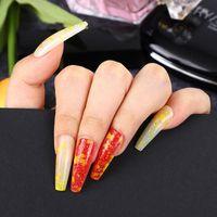 偽爪24ピースマジックミラーの咲く縞模様の長いバレリーナの跳躍カラーウェアラブルネイルアートの取り外し可能な偽のNai