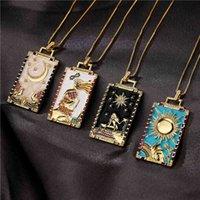 Tarot Sun Moon Neckalce Personnalisé Peinture à l'huile Drop Huile Pendentif Collier Vintage Copper Micro-incrustation Tribal Tribal Bijoux élégants