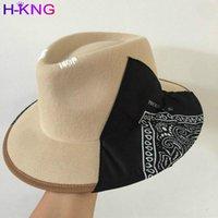 H-King seda bufanda geométricos elementos de lana fedoras gorra hombres mujeres ocio vacaciones panamd jazzhat hat de alta calidad 2021