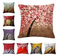 45x45 cm Poduszki Pokrywa Vintage Pillow Case Fototapeta Żółty Czerwony Drzewo WinterSweet Cherry Blossom Home Decorative Throw Okładki 100 sztuk