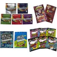 Boş Kenarlıklar Ambalaj Torbaları Jolly Rancher 600mg Warheads 600mg Gummi Şeker Mylar Çanta Ekşi İlaçlı Chewy Küpleri