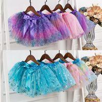 Dziewczynka Tutu Sukienka Spódnica Z Sekwem Set Hairpin Rainbow Snowflake Mermaid Star Moon Bow Spódnice Dzieci Dane Dresses