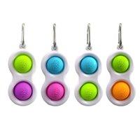 500 ps / dhl Sensory Pop Poppers Zappeln Spielzeug Push Bubble Bubble Popper Puzzle Schlüsselanhänger Gedruckt 2 Bälle Keychain Toys Tasche Anhänger Squeeze Finger Fun Ball Bubbles H3301