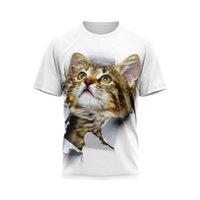 Kawaii Dibujos Animados 3D Gato Impreso T Shirts Hombres / Mujeres Gráficos Gráficos Divertidos Anime Harajuku Estilo Coreano Camiseta Unisex Estética Tshirt