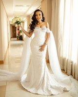 2021 Sexy African Mermaid Wedding Dresses Off Shoulder Full Lace Appliques Crystal Beads Sheer Illusion Sweep Train Dubai Vestidos Formal Bridal Gowns With Cape
