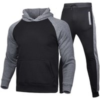 Outono inverno 2020 Sportswear Hoodie dos homens Set Plush Sold Color Sweater