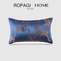 Pillow Case Home Lumbar Cover Antik kinesisk stil Silk Satin Häst Jacquard Kudde för vardagsrum Soffa Sovrum Fall dekor