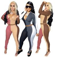 Cutlubly Manga larga Sistema de mujer Patchwork acanalado conjuntos de dos piezas con cremallera Top Top Pantalones Pantalones de lápiz moda Trajes de chándals