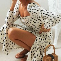 Casual Dresses Vestido longo feminino com estampa de leopardo, moda primavera do outono, vestido maxi sleve, costas abertas, retrô, festa LUKJ