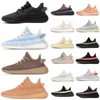 Kanye West 2 Scarpe Reflective Reflective V2 Scarpe da corsa 3M Belgua 2.0 Semi Burro SEMI Giallo Blu Giallo Blu Top Quality Designer Uomo Donne Yeezys 350 Sneakers Dimensioni 47 con scatola