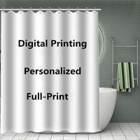 Custom à prova d 'água cortinas com ganchos c digital poliéster de poliéster banheiro cortinas tapete 180x180,165,150 90cm