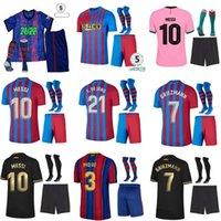 Yetişkin Kitleri 20 21 Barca Futbol Formaları Messi Barcelona Kun Aguero 2021 2022 Ansu Fati Griezmann Braithwaite Pedri De Jong Coutinho Futbol Gömlek Erkekler Kids Kiti Üniforma