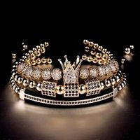 Charm Bracelets 3pcs set Luxury Jewelry Zircon Hip Hop Gold Men Cubic Micro Pave CZ Braided Braiding Pulseira