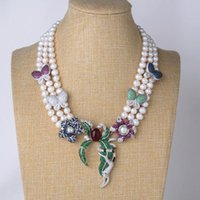 """Earrings & Necklace 18"""" 3 Rows White Round Pearl Cz Pave Pendant With Match Earring Set"""