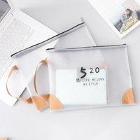 Business Card Files 1pcs Solid Color File Bag Transparent A4 Paper Simple SIMP Portable Large Capacity Handbag