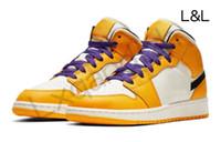 LL JUMPMAN 1 أحذية كرة السلة المسار وحقل حذاء تشغيل أحذية النسائية الرياضة الشعلة الأرنب لعبة الملك الملكي الصنوبر الأخضر مع مربع 36-47