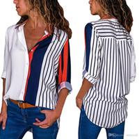 المرأة البلوزات كتلة اللون مخطط قميص أنيق مكتب سيدة بلوزة عارضة طويلة الأكمام زر قميص قمم قميص