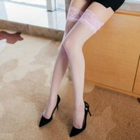 Women's Non-slip Silicone Stockings Sexy Lace Top Thigh High Stockings Over Knee Socks Transparent Nylon Stockings Dropshipping