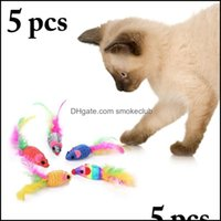 Cat Supplies Home & Gardencat Toys 5Pcs Random Color Toy Creative Artificial Feather Mouse Chew Pet Bite Funny Interactive Drop Delivery 202