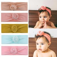 Hair Accessories 2021 Cotton Solid Topknot Baby Headband Handmade Spandex Headwrap Sweet Donut Band Girls