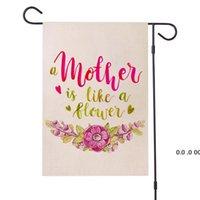 Drapeau de jardin de lin de la mère 12 x 18 pouces double face Happy Mother's Day Hunard Yard Décoration d'extérieur EWE5142
