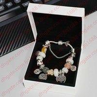 925 Plateado Plateado Árbol de Vida Charms Pulsera Pulsera Set Original Caja para Pandora Snake Chain DIY Beads Charm Bracelets Para Mujeres Chicas