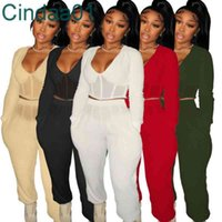 Women Tracksuits Clothing 2 Piece Set Designer V-neck Mesh Splicing Solid Color Loose Elastic Fall And Spring Sportswear 5 Colours