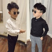 Casual Boys Shirts White Long Sleeve Tops for Teenage School Boy Cotton Turn-down Collar Black Shirt Toddler Baby Bottom Clothes 210305