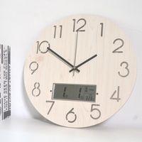 ساعات الحائط الخشب بسيط الرقمية الذكية ساعة التصميم الحديث بطارية المطبخ ديكور الصمام wandklok غرفة المعيشة الديكور bi50wc