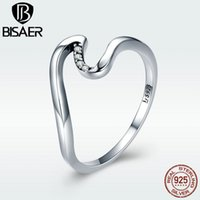 Cluster Rings Ring Genuine 925 Sterling Silver Clear CZ Minimalist Simple Wave Finger For Women Chic Stylish Fine Jewerly Gift GXR378