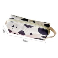 Storage Bags Dairy Cow Pattern Pencil Pouch With Lanyard Nylon Makeup Cosmetic Dust-proof Organization Bag For Students