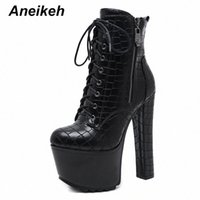 Aneikeeh Sexy Hohe Plattformen Frauen Kreuz gebundene Knöchelstiefel Punk PU Leder Motorrad Boots Nachtclub Schuhe Frau Chunky Heels U7Nz #