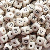 Holzperlen 200 teile / los Natürliches Alphabet / Buchstabe Cube Holzperlen 8x8mm 10x10mm für Schmuckherstellung DIY Armband Neklace Lose Perlen 376 T2
