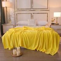 Blankets Solid Yellow Quilts Twin Full Queen King Fashion Soft Throw Flannel Blanket On Bed car sofa Luxury Simple Rugs