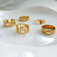 Women 18K Gold Plated Anti Allergy Stainless Steel Ring Jewelry