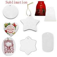 Stati Uniti Sublimazione Sublimazione Blank Ciondolo in ceramica in ceramica creativo ornamenti natalizi di natale Trasferimento di calore Stampa FAI DA TE Ornamento in ceramica 9 stili accettano misto