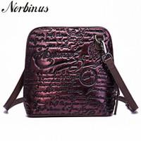 Norbinus 2018 mulheres em relevo mensageiro bolsas de ombro de couro genuíno bolsas crossbody vintage em gravização superior alça manchas de desenhista saco Q258 #