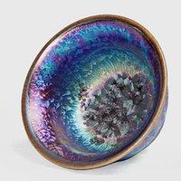 Tazze piattini pigmentati Jianzhan Tè Bowl Drinkware Kiln Cambia Colorful TeeCups Home Decor Accessori