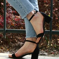 Sandals Ankle Strap Heels Women Summer Shoes Open Toe Chunky High Party Dress Big Size 45