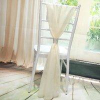 الجملة الأبيض slub كرسي الزنانير مع الصفوف الماس الشيفون حساسة حفل زفاف مأدبة ديكورات كرسي يغطي الملحقات