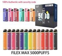 Filex Max Super 5000 Puffs E Sigara Şarj Edilebilir Tek Kullanımlık Cihaz 950mAh Pil 12 ML Fiyat Güvenlik Kodu Vape Kalem Yüksek Kapasiteli