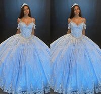 Bling Tulle Bahama Blue Quinceanera Dresses Ball Gown Off The Shoulder Applique Lace Beaded Crystal Open Back Lace-up Prom Graduation Formal