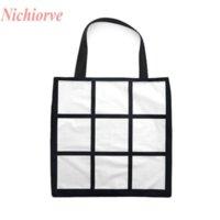 Sublimering galler tote bag blank vit diy värmeöverföring shoppingväska 9 paneler tyg frabic återanvändbar lagring presentväska handväska