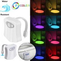 8 cores mudando o sensor de movimento diodo emissor de luz do vaso sanitário assento assento luz de noite crianças lâmpada de segurança